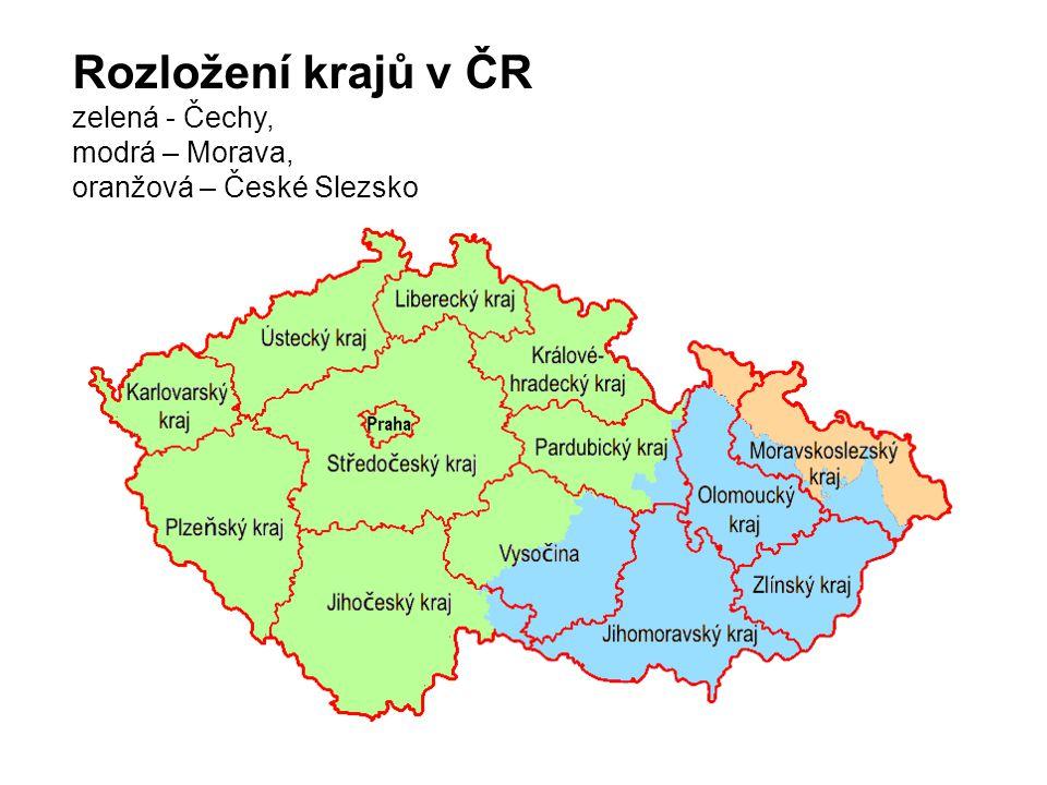 Rozložení krajů v ČR zelená - Čechy, modrá – Morava,