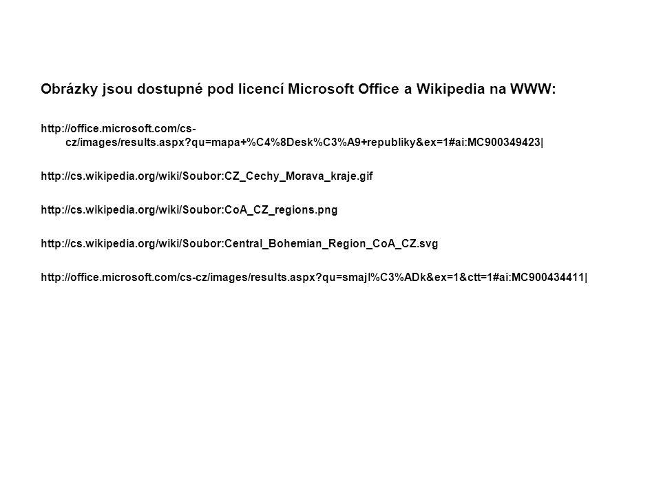 Obrázky jsou dostupné pod licencí Microsoft Office a Wikipedia na WWW: