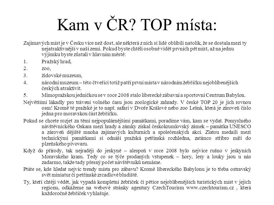 Kam v ČR TOP místa: