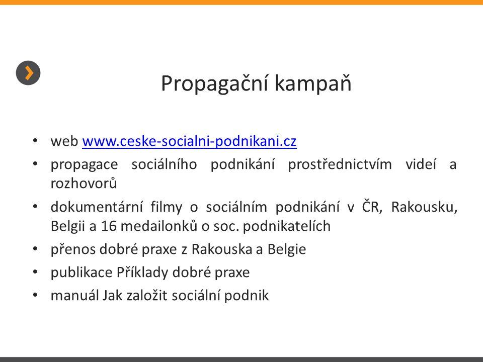 Propagační kampaň web www.ceske-socialni-podnikani.cz. propagace sociálního podnikání prostřednictvím videí a rozhovorů.