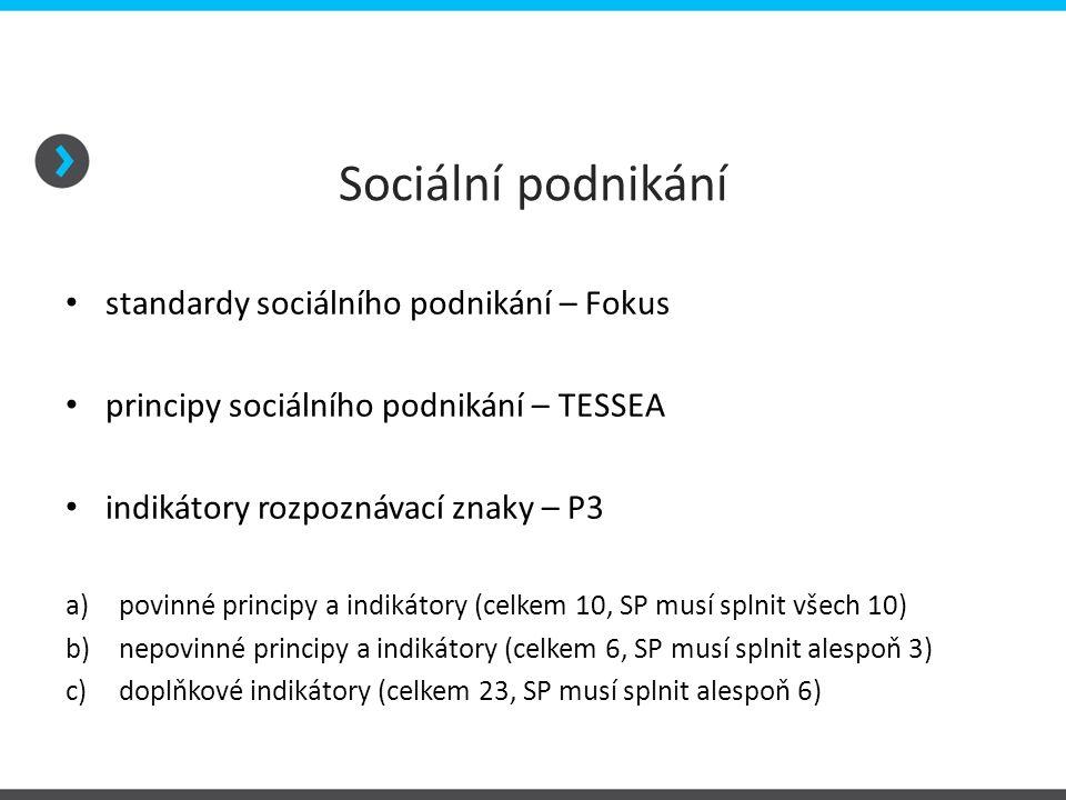 Sociální podnikání standardy sociálního podnikání – Fokus