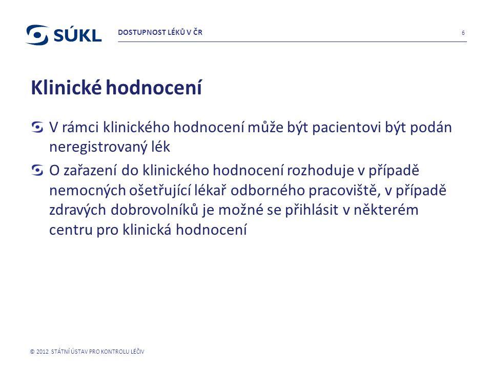 DOSTUPNOST LÉKŮ V ČR Klinické hodnocení. V rámci klinického hodnocení může být pacientovi být podán neregistrovaný lék.