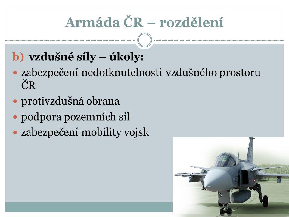 Armáda ČR – rozdělení vzdušné síly – úkoly: