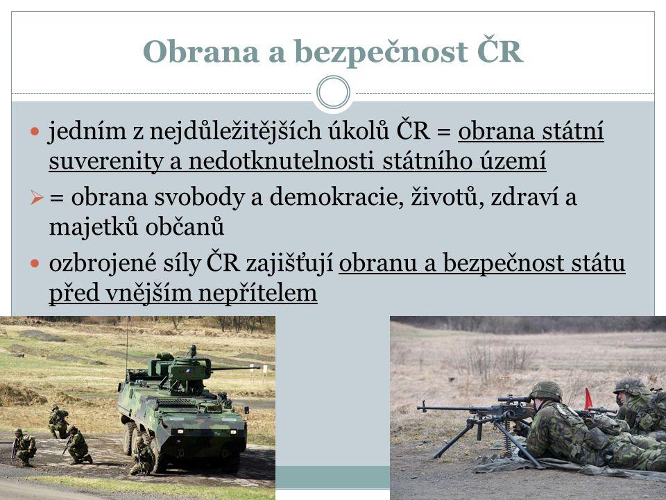 Obrana a bezpečnost ČR jedním z nejdůležitějších úkolů ČR = obrana státní suverenity a nedotknutelnosti státního území.