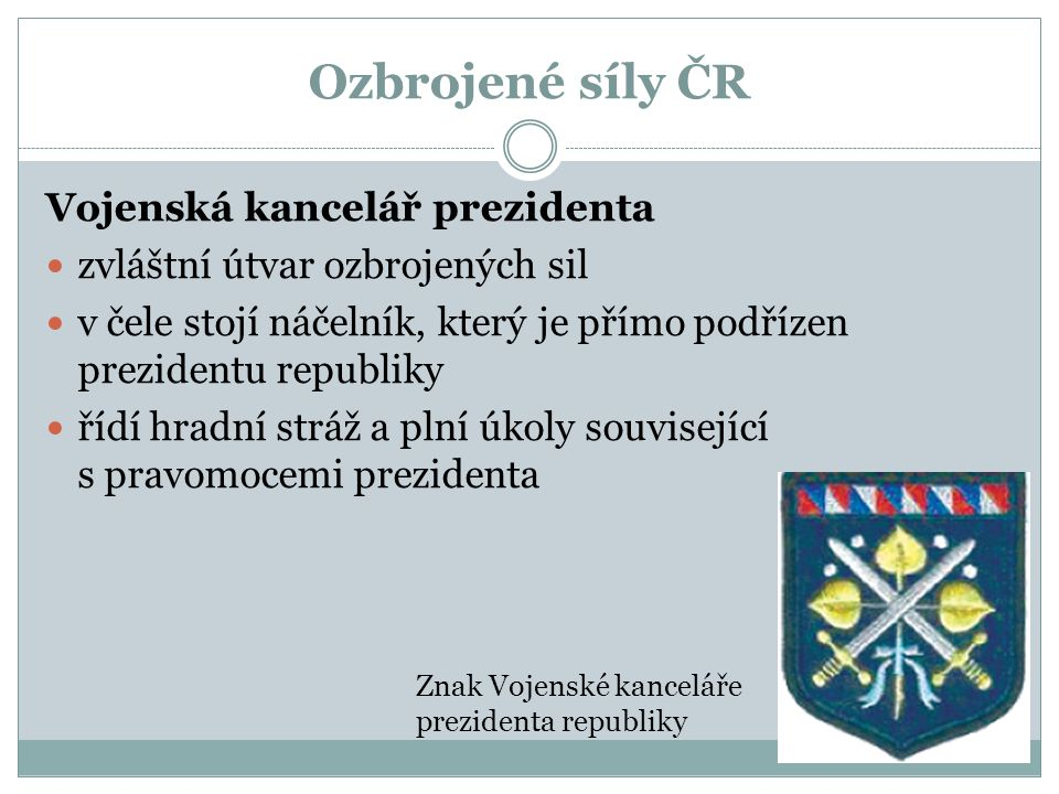 Ozbrojené síly ČR Vojenská kancelář prezidenta