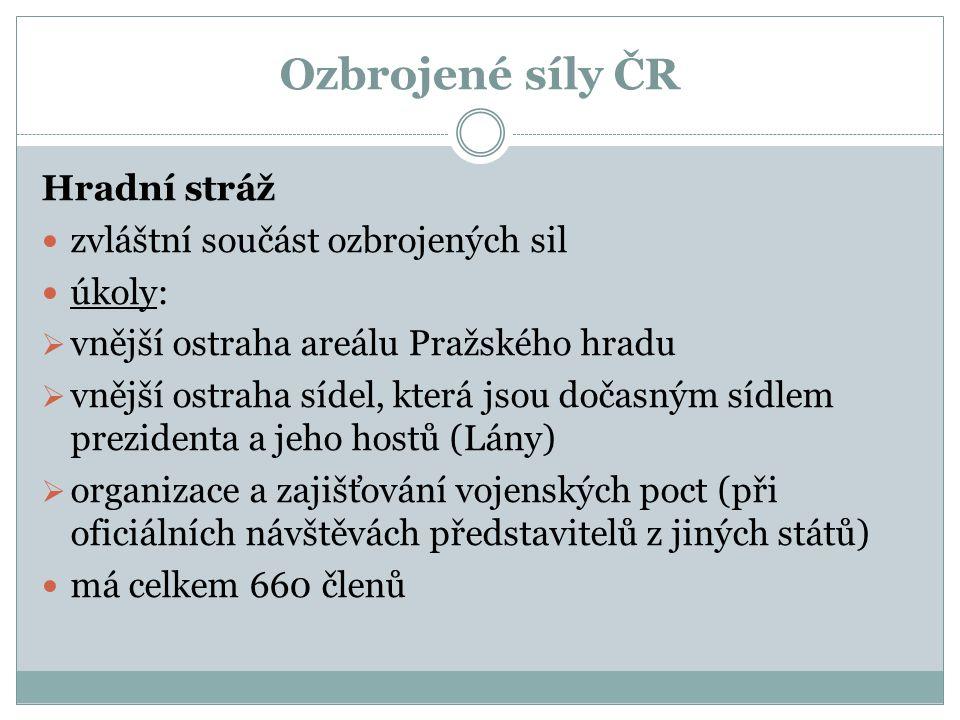 Ozbrojené síly ČR Hradní stráž zvláštní součást ozbrojených sil úkoly: