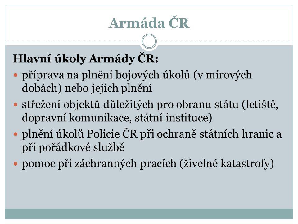 Armáda ČR Hlavní úkoly Armády ČR: