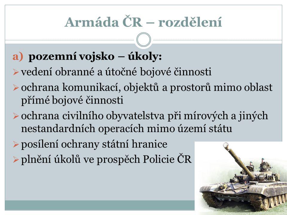 Armáda ČR – rozdělení pozemní vojsko – úkoly:
