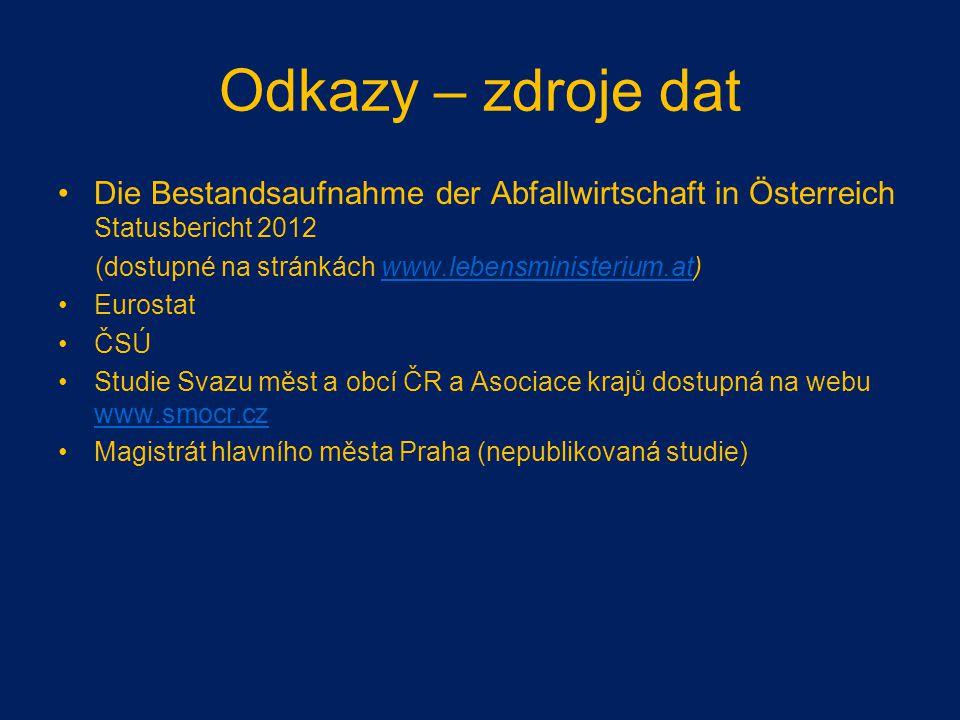 Odkazy – zdroje dat Die Bestandsaufnahme der Abfallwirtschaft in Österreich Statusbericht 2012. (dostupné na stránkách www.lebensministerium.at)