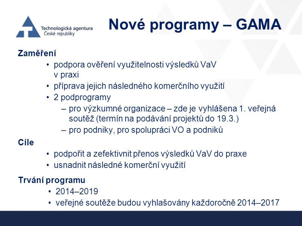 Nové programy – GAMA Zaměření
