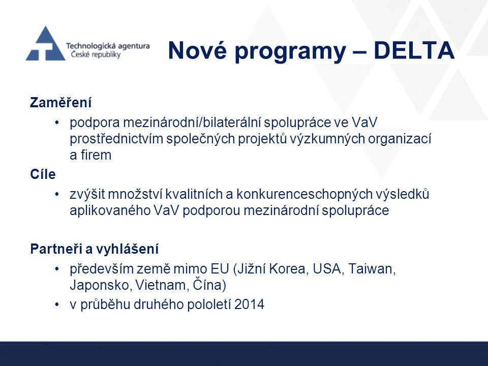 Nové programy – DELTA Zaměření