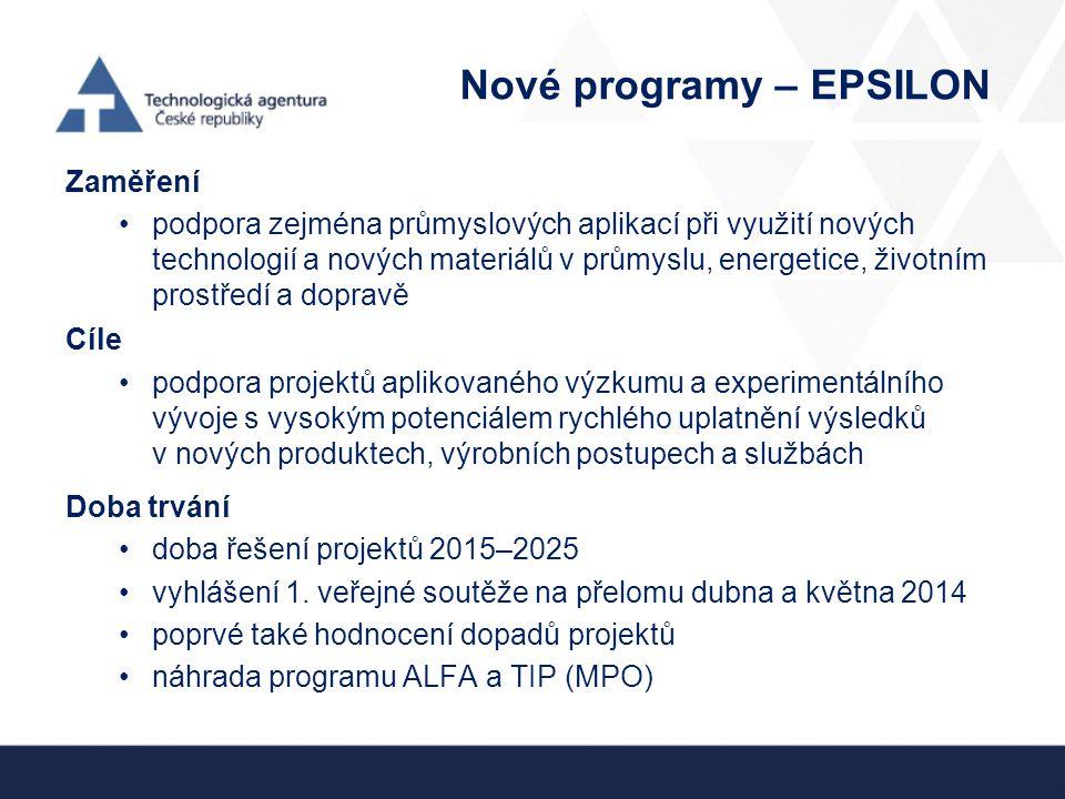 Nové programy – EPSILON
