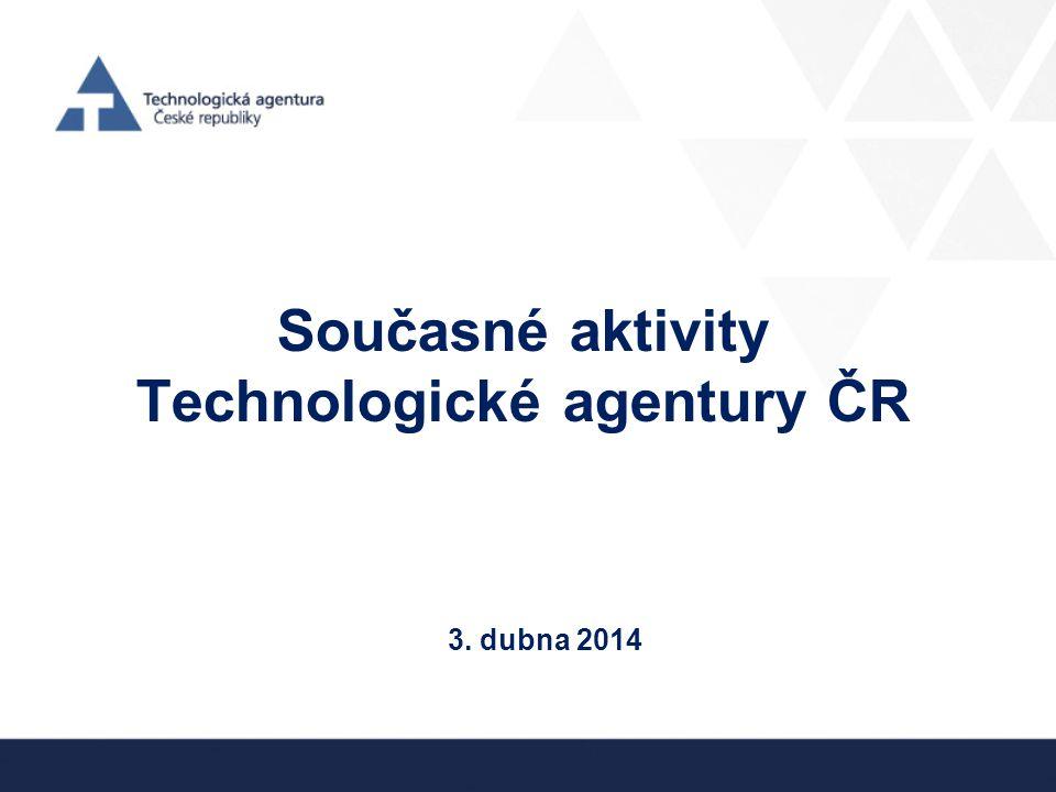 Současné aktivity Technologické agentury ČR