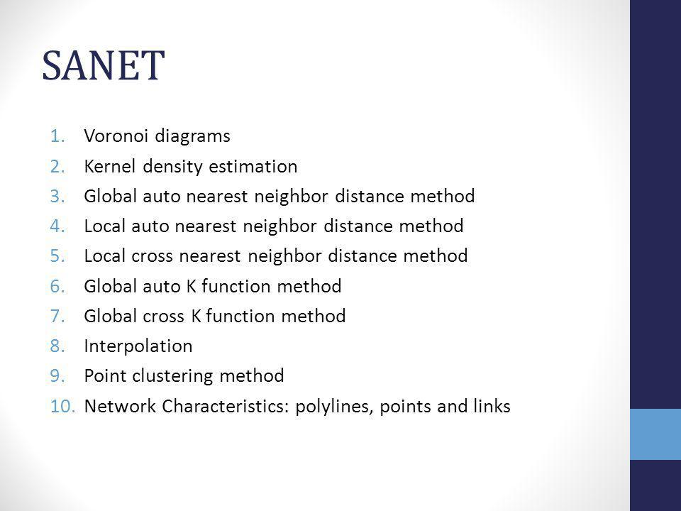 SANET Voronoi diagrams Kernel density estimation