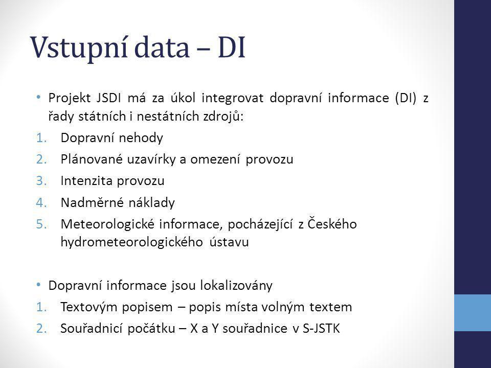 Vstupní data – DI Projekt JSDI má za úkol integrovat dopravní informace (DI) z řady státních i nestátních zdrojů: