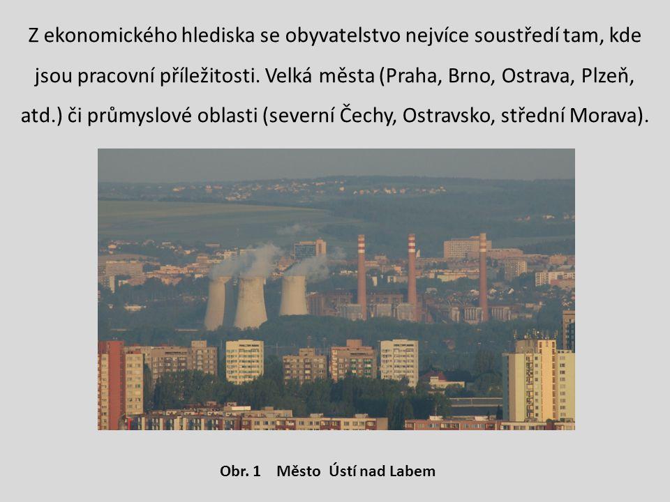 Z ekonomického hlediska se obyvatelstvo nejvíce soustředí tam, kde jsou pracovní příležitosti. Velká města (Praha, Brno, Ostrava, Plzeň, atd.) či průmyslové oblasti (severní Čechy, Ostravsko, střední Morava).