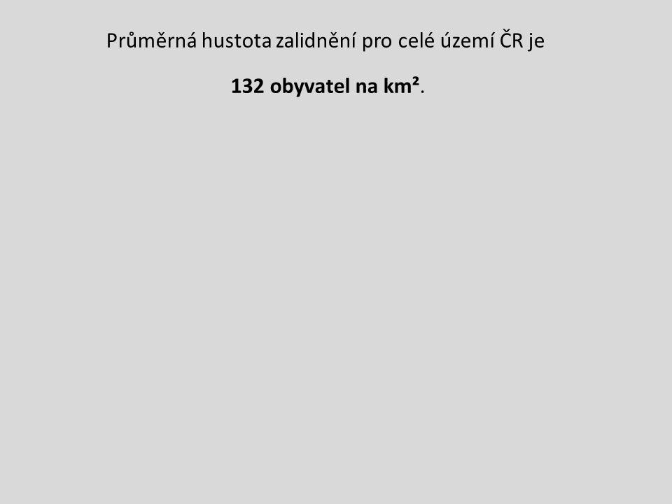 Průměrná hustota zalidnění pro celé území ČR je 132 obyvatel na km².