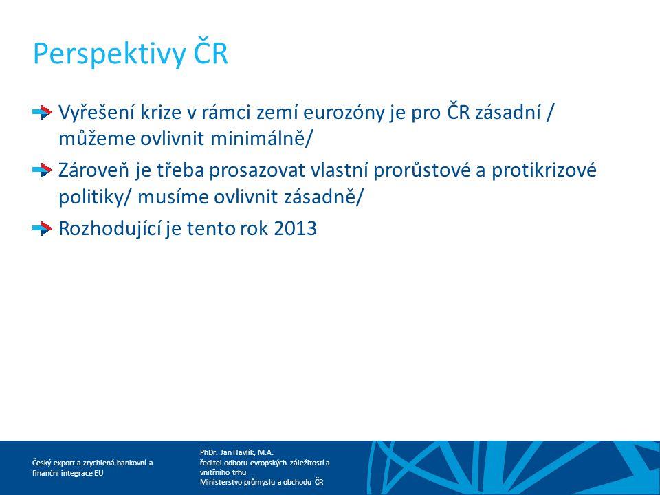 Perspektivy ČR Vyřešení krize v rámci zemí eurozóny je pro ČR zásadní / můžeme ovlivnit minimálně/