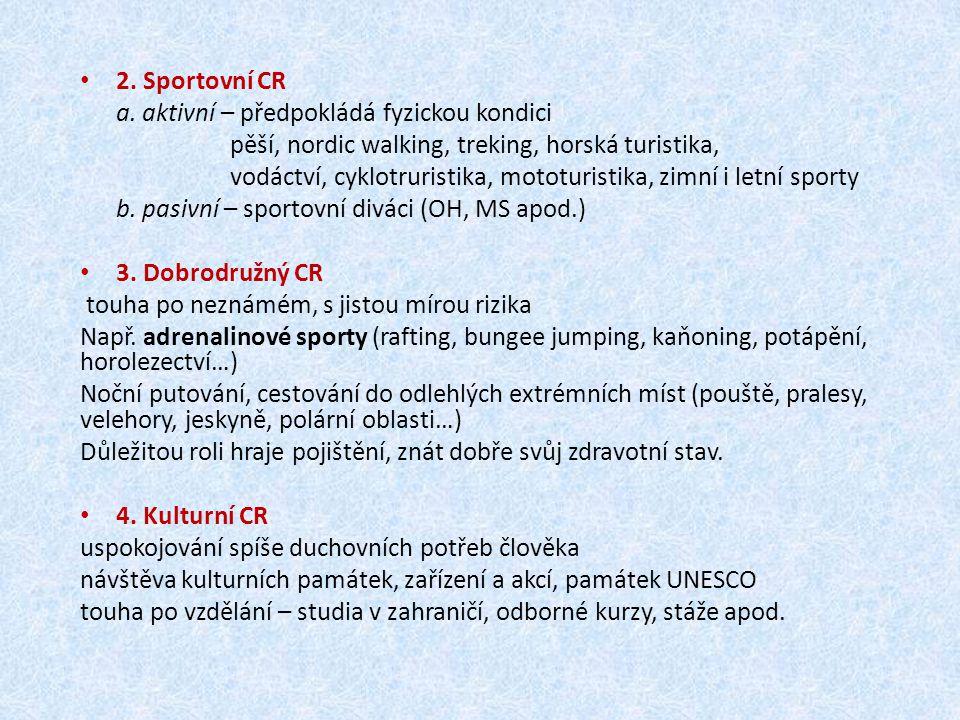 2. Sportovní CR a. aktivní – předpokládá fyzickou kondici. pěší, nordic walking, treking, horská turistika,