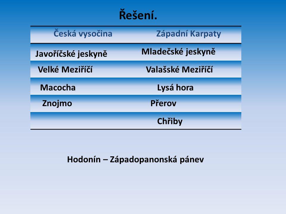 Řešení. Česká vysočina Západní Karpaty Mladečské jeskyně
