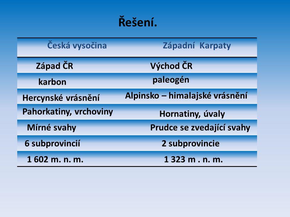 Řešení. Česká vysočina Západní Karpaty Západ ČR Východ ČR paleogén