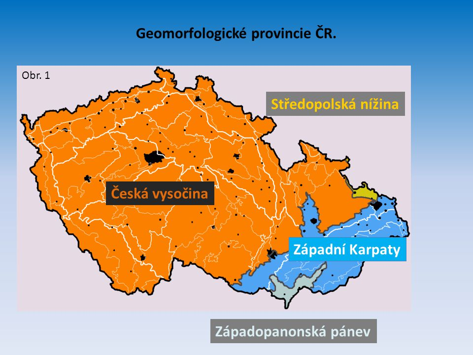 Geomorfologické provincie ČR.