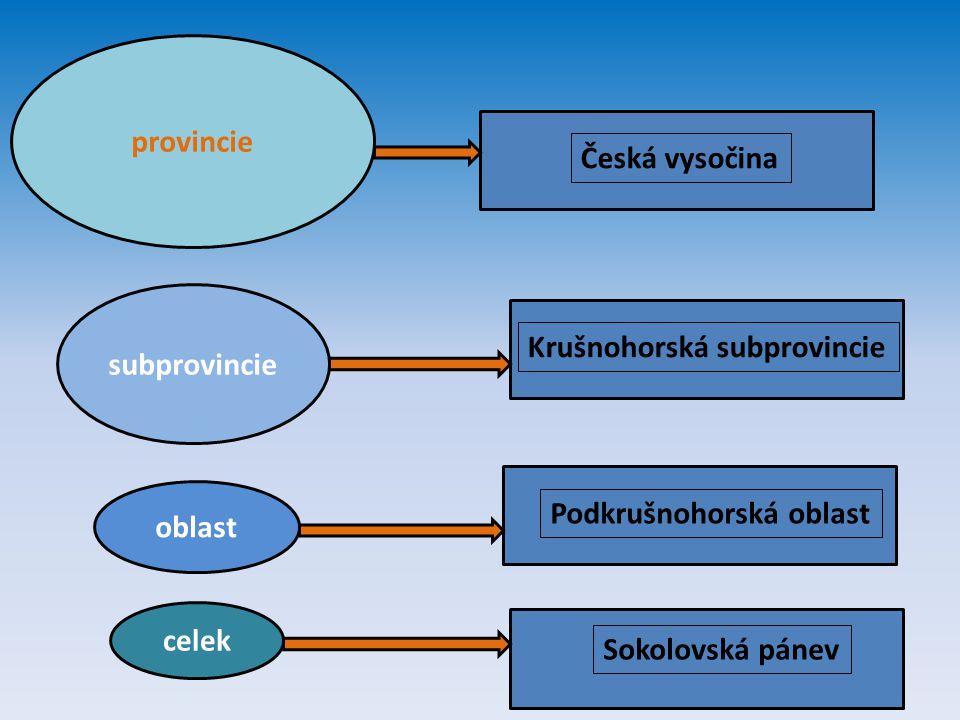 provincie Česká vysočina. subprovincie. Krušnohorská subprovincie. oblast. Podkrušnohorská oblast.