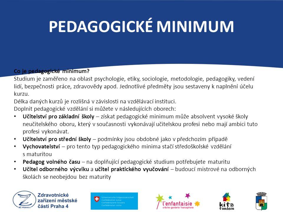PEDAGOGICKÉ MINIMUM Co je pedagogické minimum