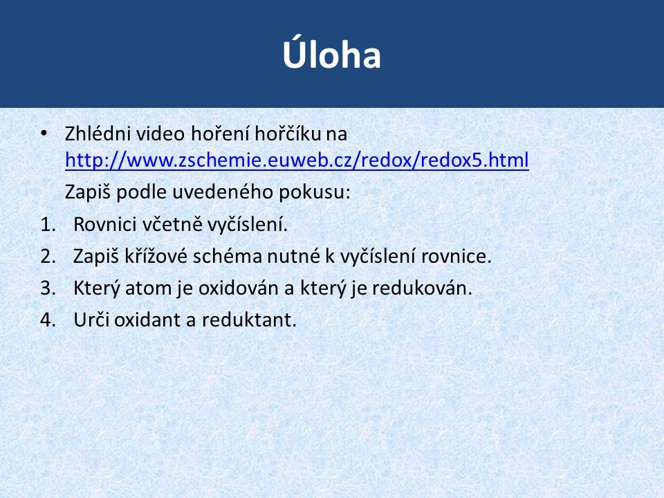 Úloha Zhlédni video hoření hořčíku na http://www.zschemie.euweb.cz/redox/redox5.html. Zapiš podle uvedeného pokusu: