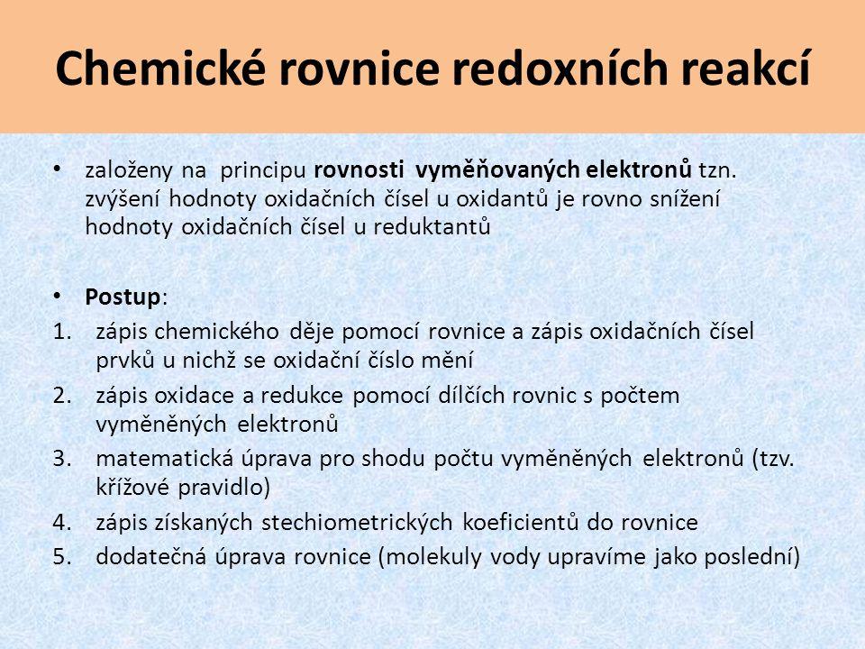 Chemické rovnice redoxních reakcí