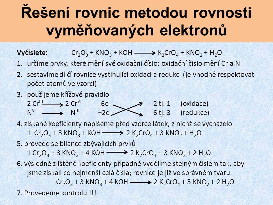 Řešení rovnic metodou rovnosti vyměňovaných elektronů