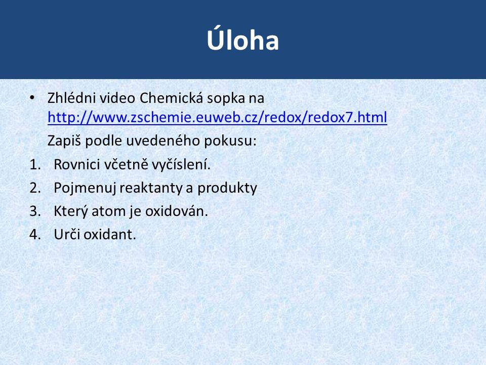 Úloha Zhlédni video Chemická sopka na http://www.zschemie.euweb.cz/redox/redox7.html. Zapiš podle uvedeného pokusu: