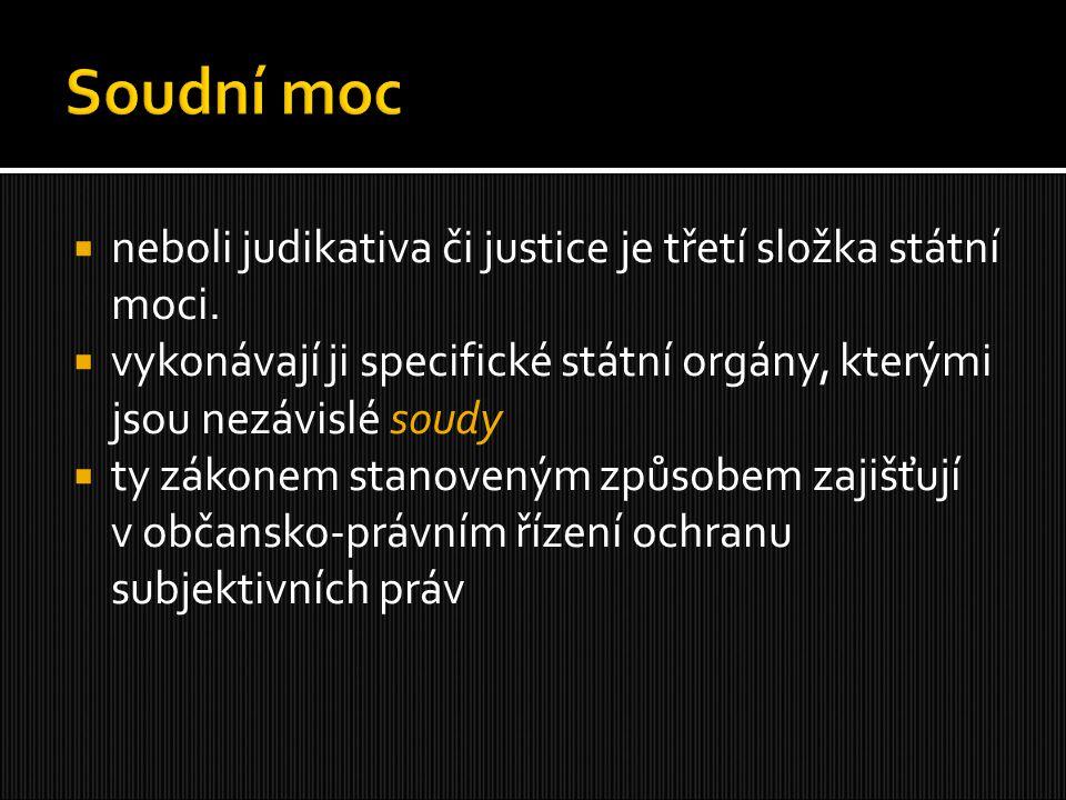 Soudní moc neboli judikativa či justice je třetí složka státní moci.