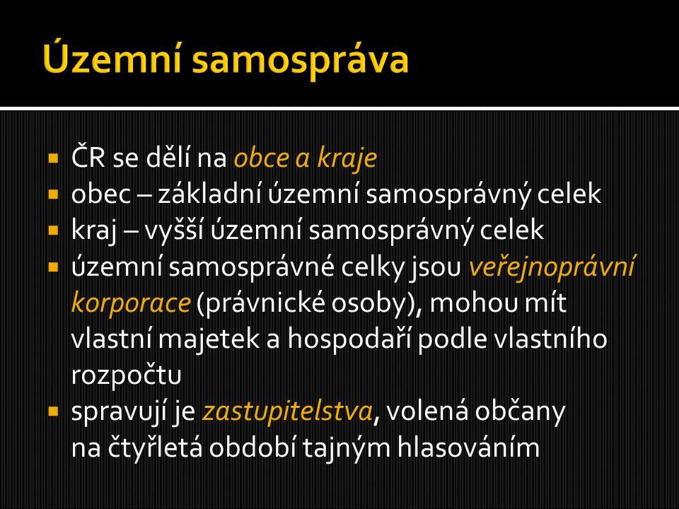 Územní samospráva ČR se dělí na obce a kraje