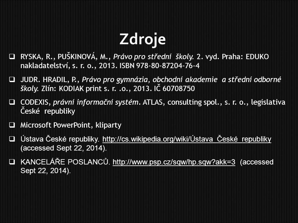 Zdroje RYSKA, R., PUŠKINOVÁ, M., Právo pro střední školy. 2. vyd. Praha: EDUKO nakladatelství, s. r. o., 2013. ISBN 978-80-87204-76-4.