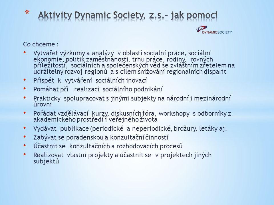 Aktivity Dynamic Society, z.s.– jak pomoci