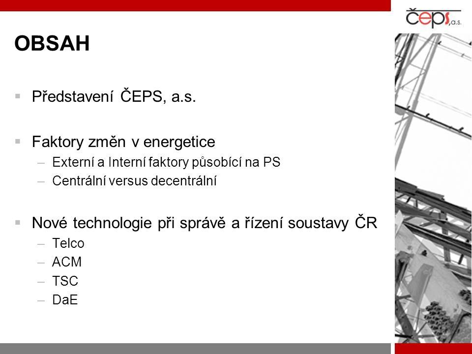 OBSAH Představení ČEPS, a.s. Faktory změn v energetice