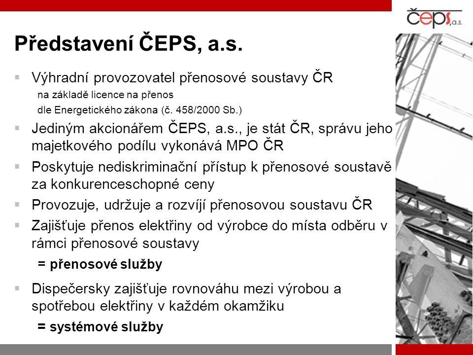 Představení ČEPS, a.s. Výhradní provozovatel přenosové soustavy ČR