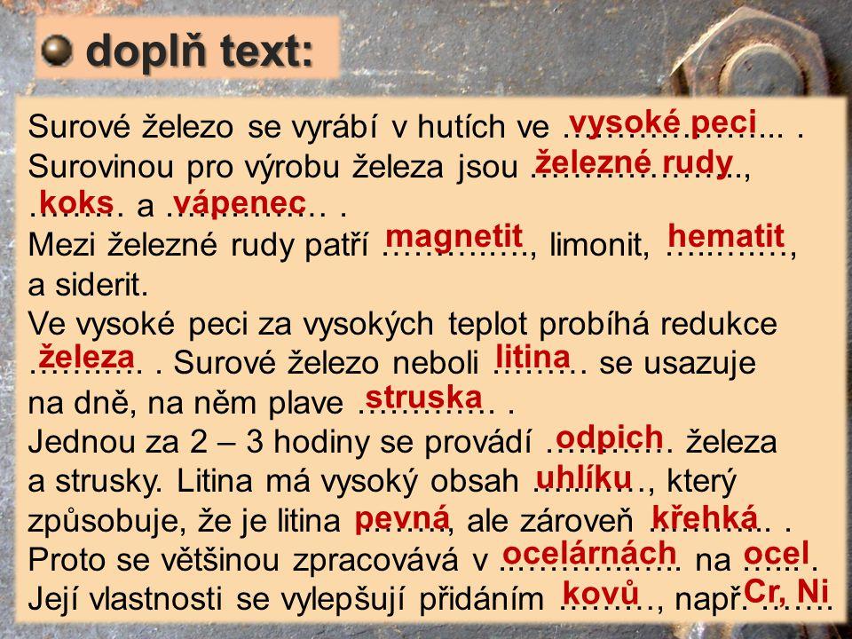 doplň text: Surové železo se vyrábí v hutích ve ………………... .