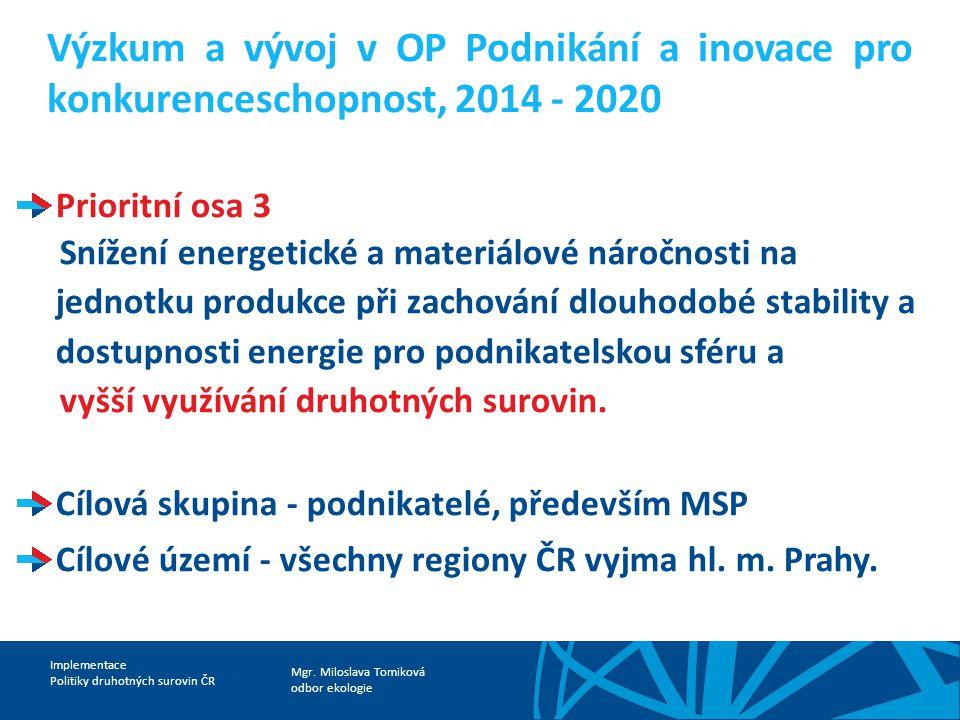 Výzkum a vývoj v OP Podnikání a inovace pro konkurenceschopnost, 2014 - 2020