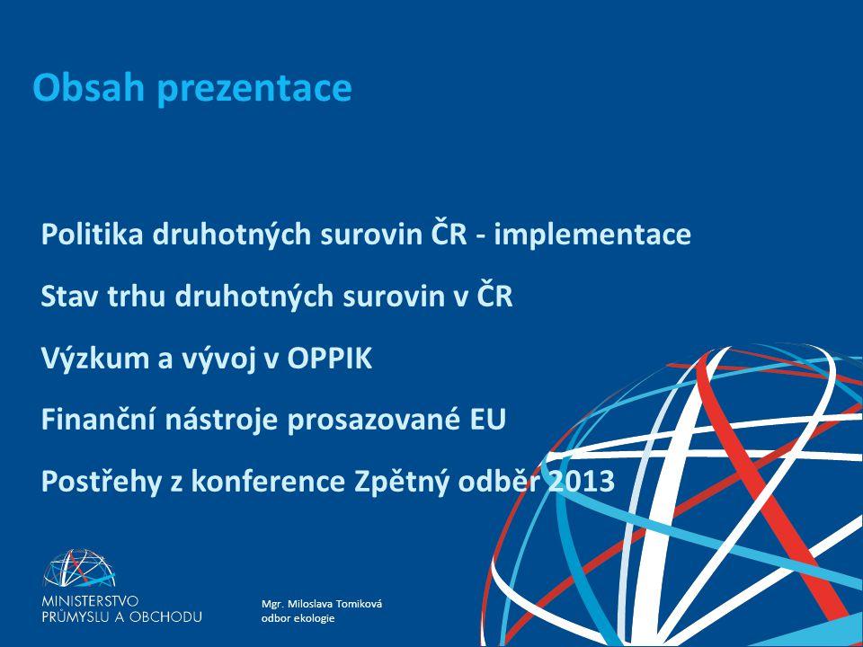 Obsah prezentace Politika druhotných surovin ČR - implementace