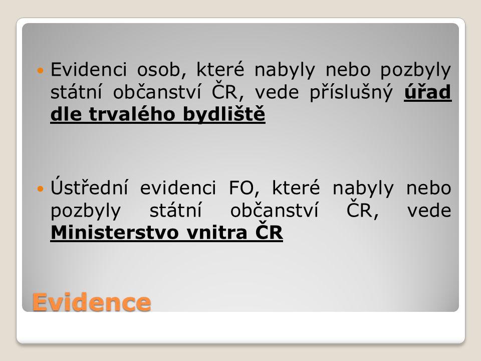 Evidenci osob, které nabyly nebo pozbyly státní občanství ČR, vede příslušný úřad dle trvalého bydliště