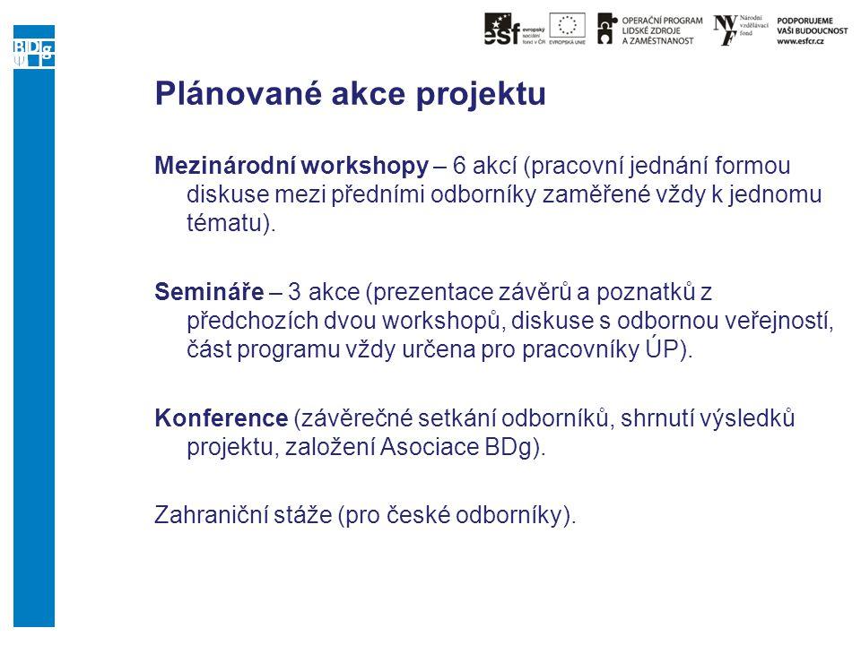 Plánované akce projektu