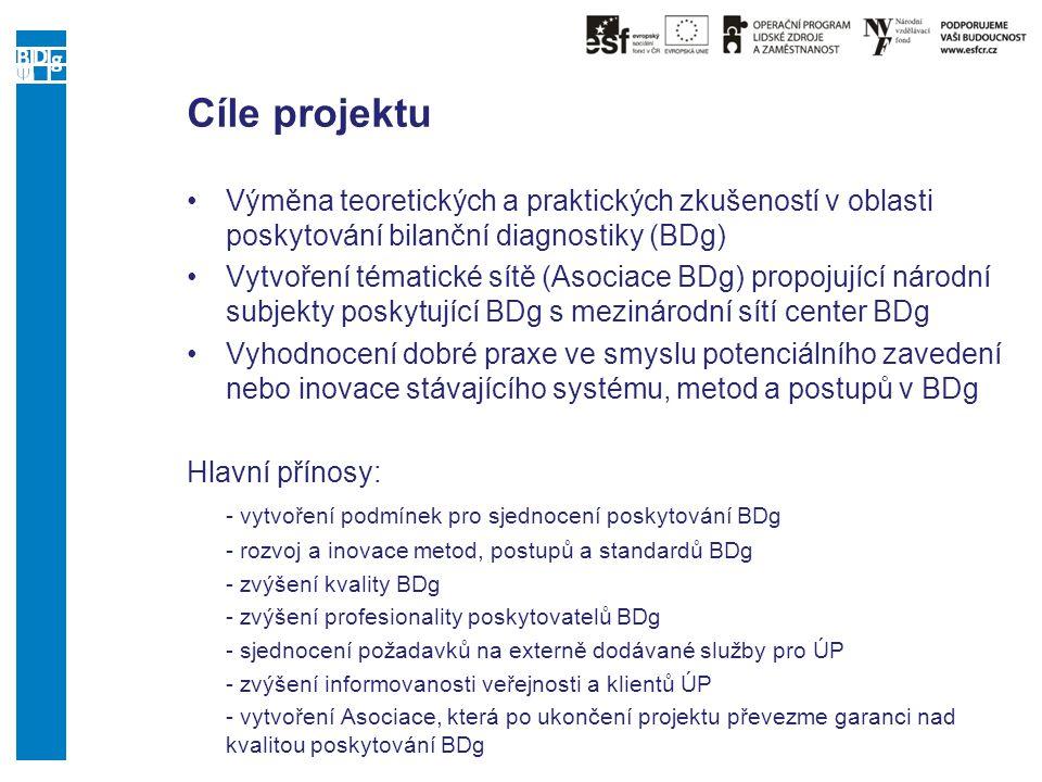 Cíle projektu Výměna teoretických a praktických zkušeností v oblasti poskytování bilanční diagnostiky (BDg)