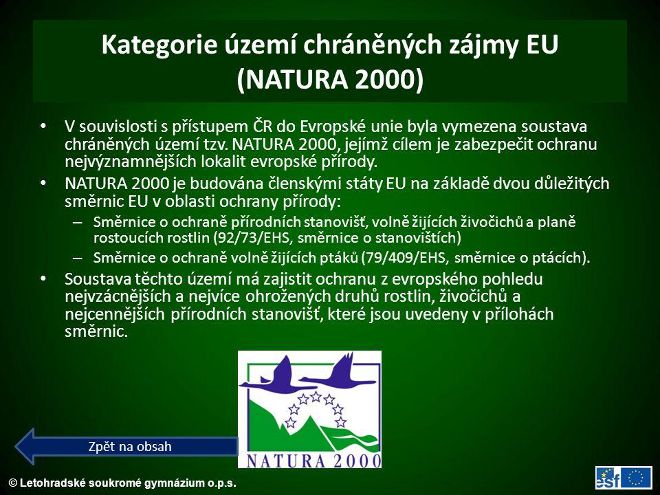 Kategorie území chráněných zájmy EU (NATURA 2000)