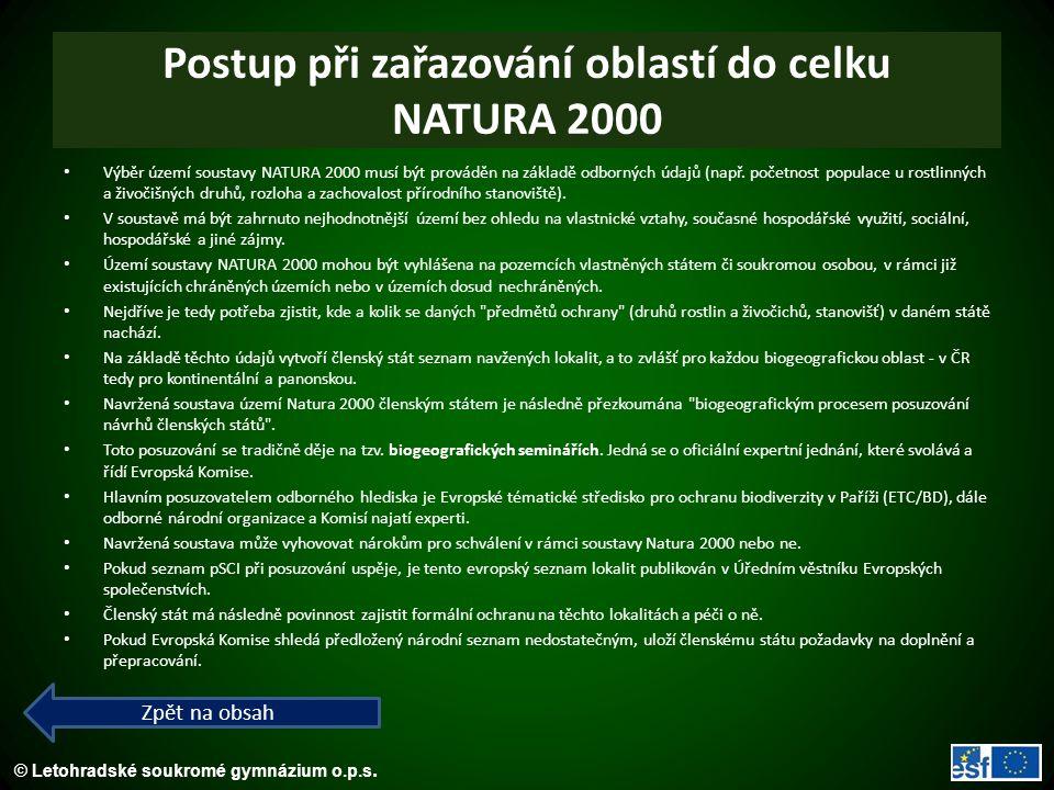 Postup při zařazování oblastí do celku NATURA 2000