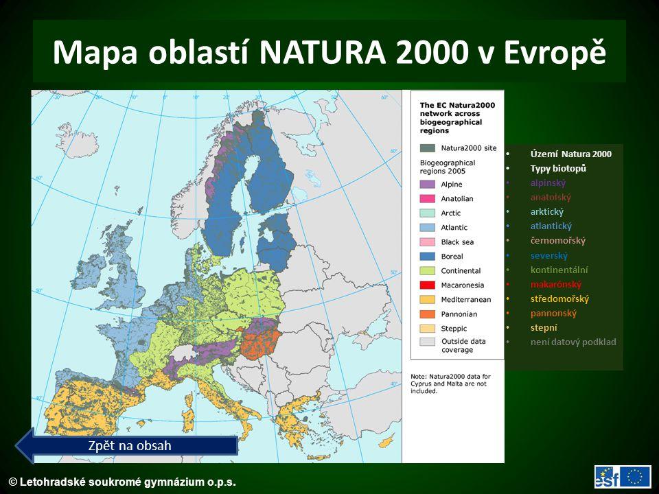 Mapa oblastí NATURA 2000 v Evropě