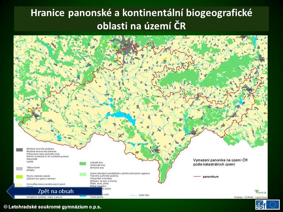 Hranice panonské a kontinentální biogeografické oblasti na území ČR