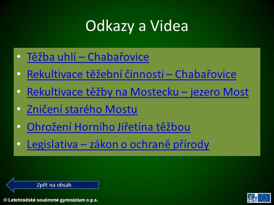 Odkazy a Videa Těžba uhlí – Chabařovice