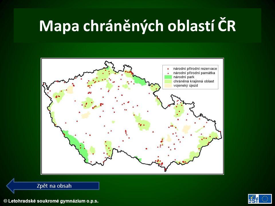 Mapa chráněných oblastí ČR
